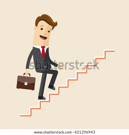 Vector illustration of a executive climbing, career and success stair. Manager or employee climbs up of a corporate ladder of success.
