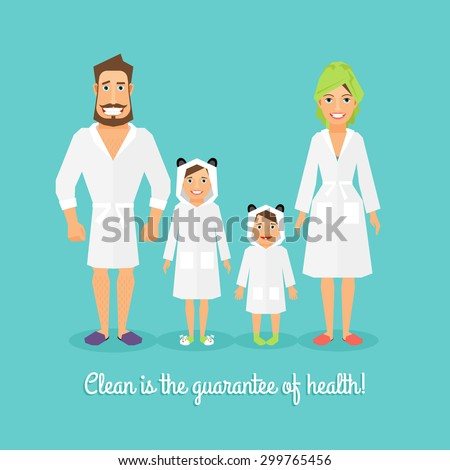 Vector illustration of a family after the bathroom  father  mother  brother   sister. Vector Illustration Family After Bathroom Father Stock Vector