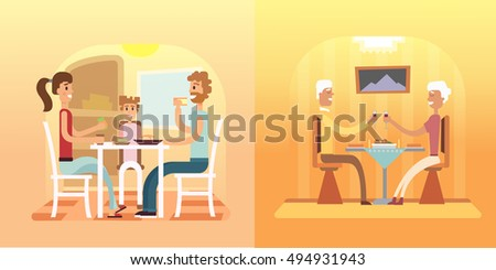 Vector illustration of a family eating. Family dinner and supper vector set