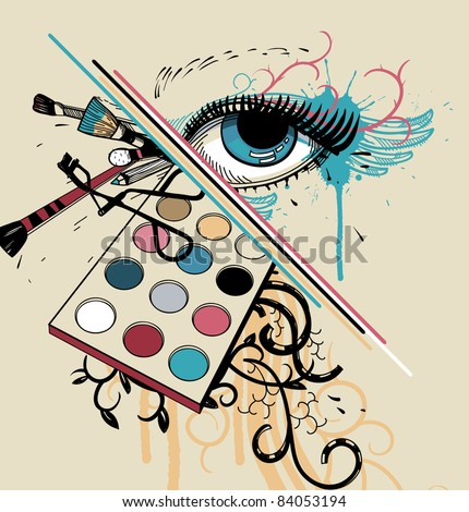 vector illustration of a fantasy blue eye and colorful make up,abstract plants and decorative brushes - stock vector