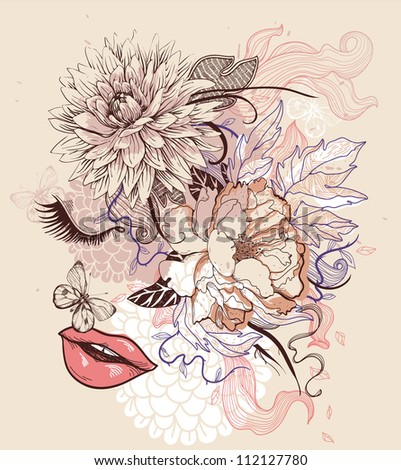 vector illustration of a fantasy dreaming girl and blooming flowers - stock vector