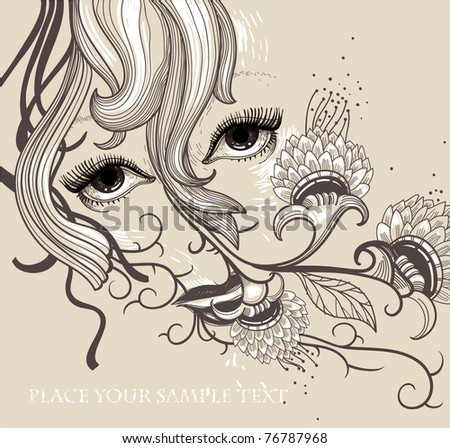 vector illustration of a fantasy face and blooming flowers - stock vector