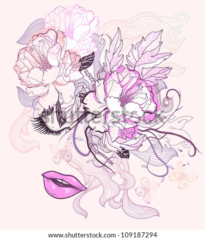 vector illustration of a fantasy face and blooming roses - stock vector