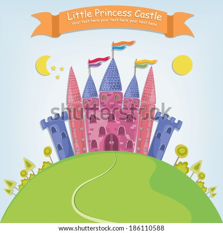 Vector illustration of a fantasy princess castle in a cartoon style with bright colors and a banner - stock vector