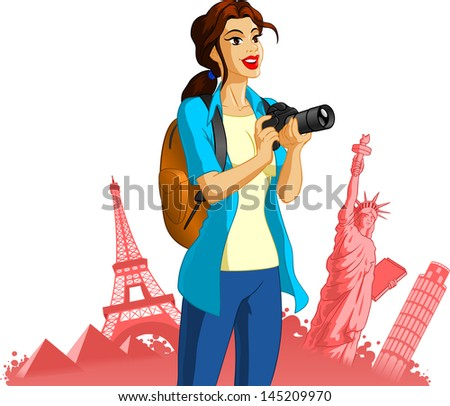 Vector illustration of a female photographer. - stock vector