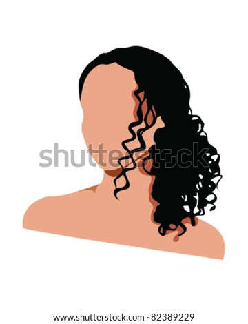 vector illustration of a female with long curly hair