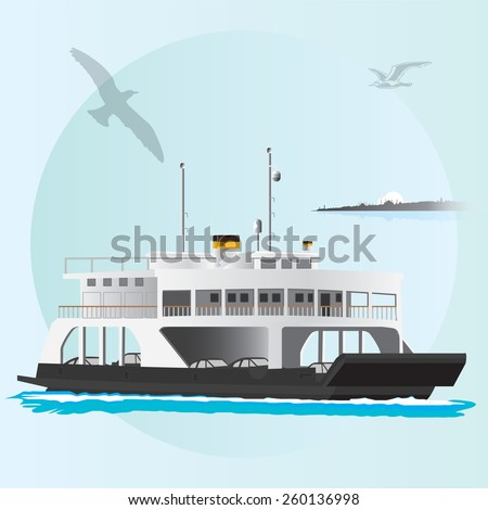 Vector illustration of a ferry from Istanbul, Turkey. - stock vector