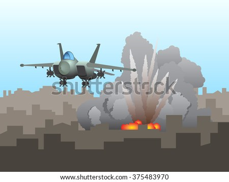 Vector Illustration of a Fighter Aircraft Bombing a Urban Area