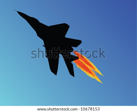 Vector illustration of a fighter jet taking off - stock vector