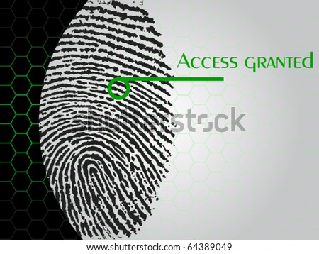 "vector illustration of a fingerprint being scanned which says ""access granted"""