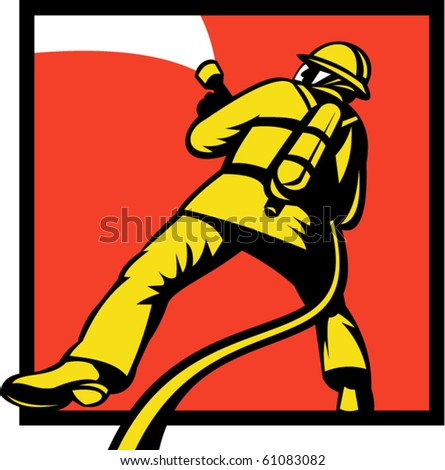 vector  illustration of a Firefighter or fireman aiming a fire hose viewed from rear in retro style