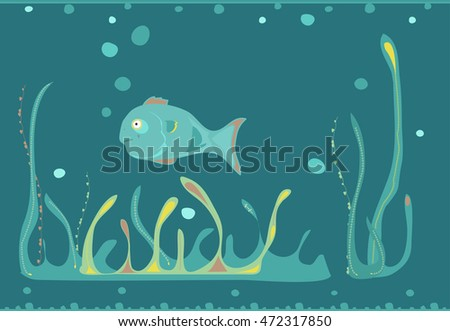 Vector illustration of a fish swimming underwater among fantastic sea plants. Cartoon style.