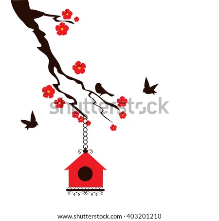 vector illustration of a floral branch with birds and bird house - stock vector