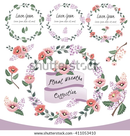 Vector illustration of a floral frame collection. A set of beautiful wreaths with flowers and branches for wedding invitations and birthday cards - stock vector