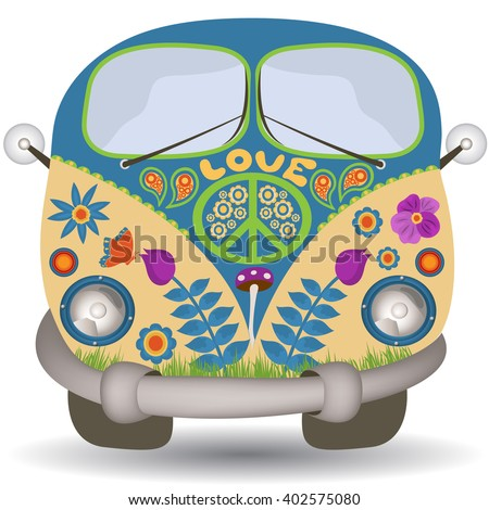Vector illustration of a flower power, hippie vintage car or mini van, front view.
