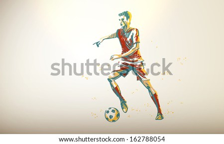 Vector Illustration of a Football, Soccer Player | Decent Copy Space - stock vector