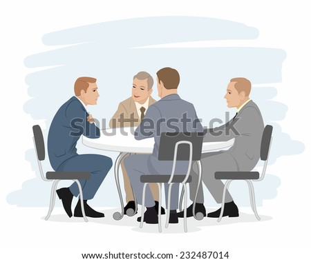Vector illustration of a four businessmen negotiations - stock vector