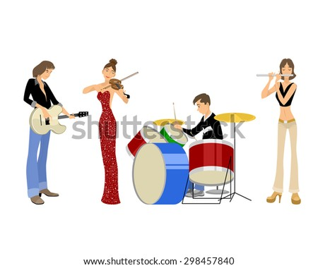 Vector illustration of a four teenagers musicians - stock vector