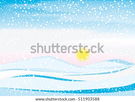 Vector illustration of a freezing cold winter landscape with snow flakes