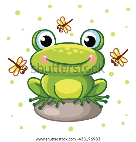 Vector Illustration Of A Frog On A Rock And Crystals On A Background Of  Green Peas