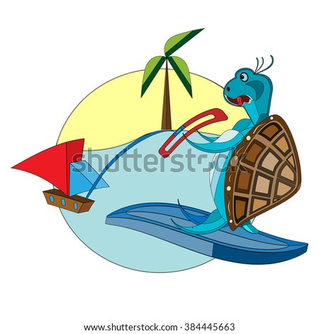 vector illustration of a funny , surfing turtle on the tropical background