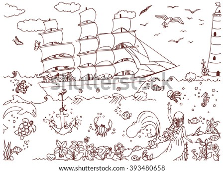 Vector illustration of a girl and zentangl ship and red sails Assol. Doodle ocean, sea, lighthouse. Travel zenart fairy tale. Coloring anti stress for adults. Brown  and white.   - stock vector