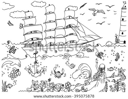 Vector illustration of a girl and zentangl ship and red sails Assol. Doodle ocean, sea, lighthouse. Travel zenart fairy tale. Coloring anti stress for adults. Black  and white.   - stock vector