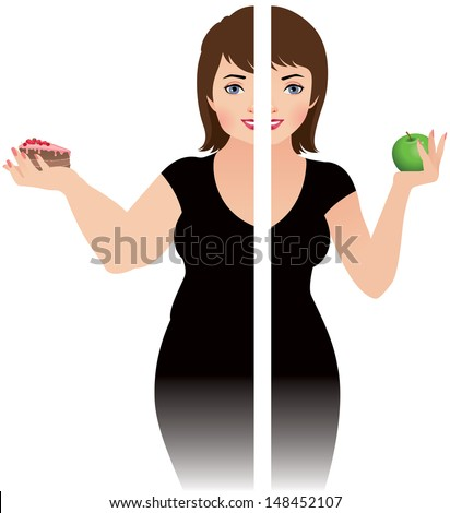 Vector illustration of a girl before and after diet