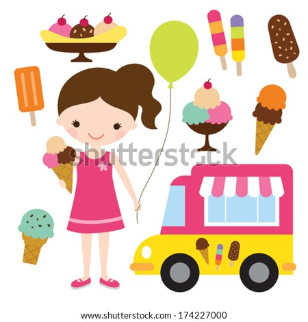 Vector illustration of a girl holding an ice cream. - stock vector