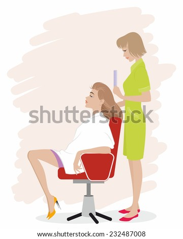 Vector illustration of a girl in hairdressing salon