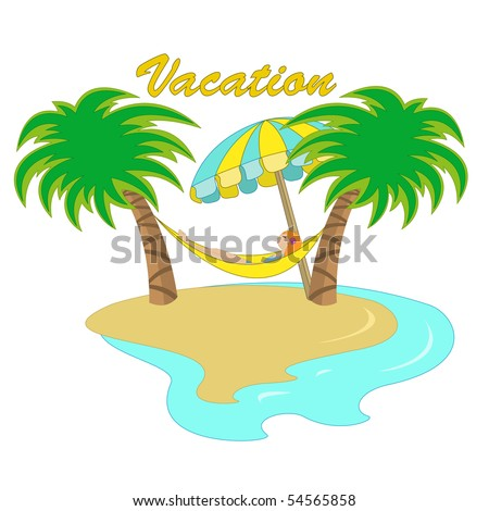 Vector illustration of a girl lying down in a hammock between two palm trees