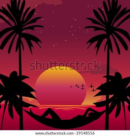 Vector illustration of a girl lying down in a hammock in a paradise island. - stock vector