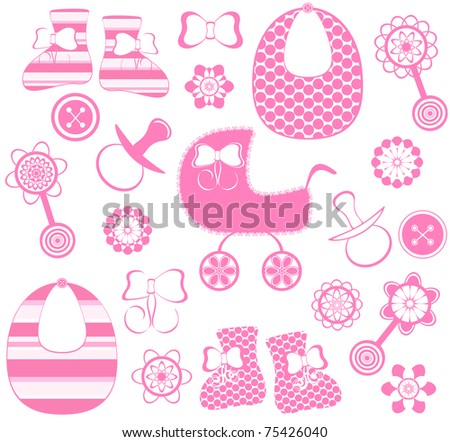 vector illustration of a girl newborn collection - stock vector