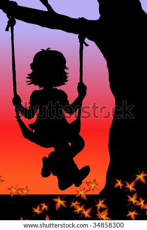 vector illustration of a girl on swings