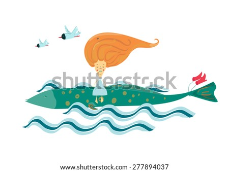 vector illustration of a girl traveling on fish