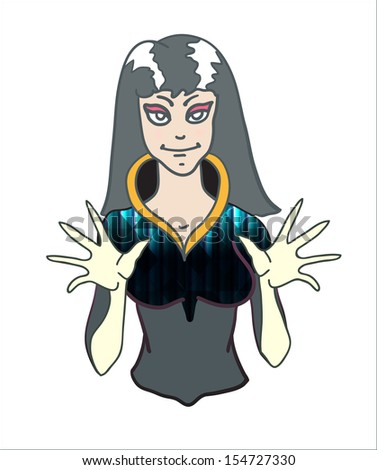 Vector illustration of a girl witch with open hands doing hypnotic magic on white background - stock vector