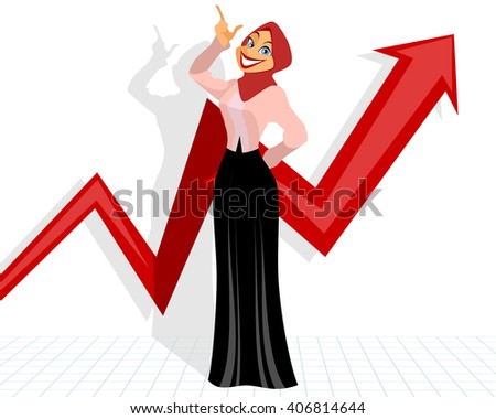 Vector illustration of a girl with graph