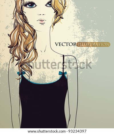 vector illustration of a girl with long blonde hair - stock vector