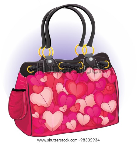 Vector illustration of a glamour pink handbag for valentine's day - stock vector