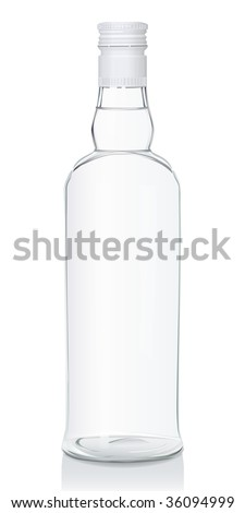 Vector illustration of a glass bottle with Russian vodka (serie of images) - stock vector
