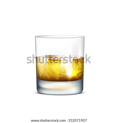Vector illustration of a glass of whiskey on transparent background