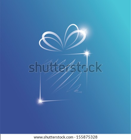 Vector illustration of a glittering gift box on blue background - stock vector