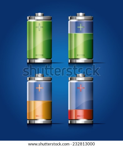 vector illustration of a glossy transparent battery icon for any non-white background - stock vector