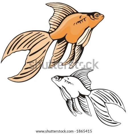 Vector illustration of a gold fish.