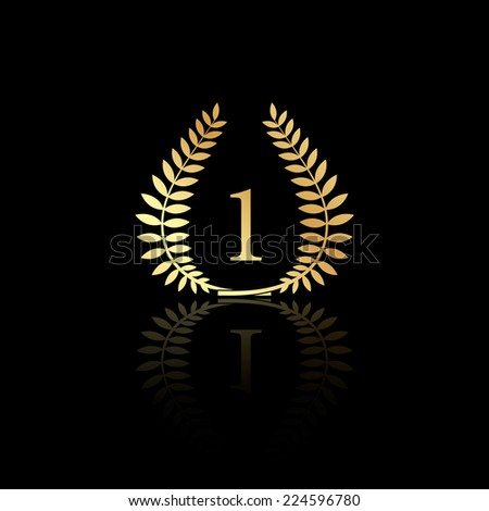 Vector illustration of a gold laurel wreath award. Represents a victory, achievement, quality product, or success. Isolated on black background. EPS 10. - stock vector