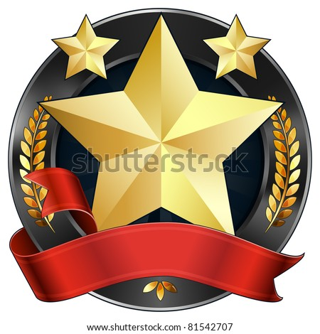 Vector Illustration Of A Gold Star Award Or Sports Plaque Medal With Red Ribbon Stars