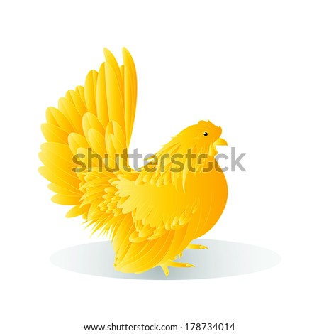 Vector illustration of a golden Bantam on a white background,female - stock vector