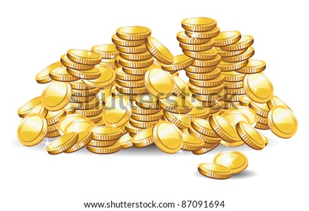 vector illustration of a golden coins - stock vector