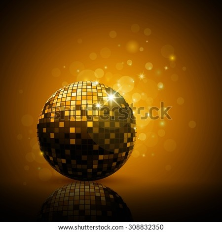 Vector Illustration of a Golden Party Background with Disco Ball