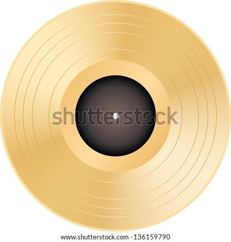 Vector illustration of a golden vinyl. - stock vector